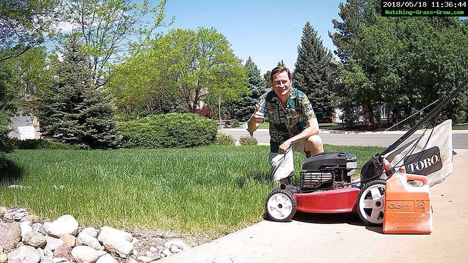 mowing lawn thumbs up